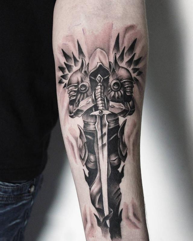 小臂堕落天使纹身图案