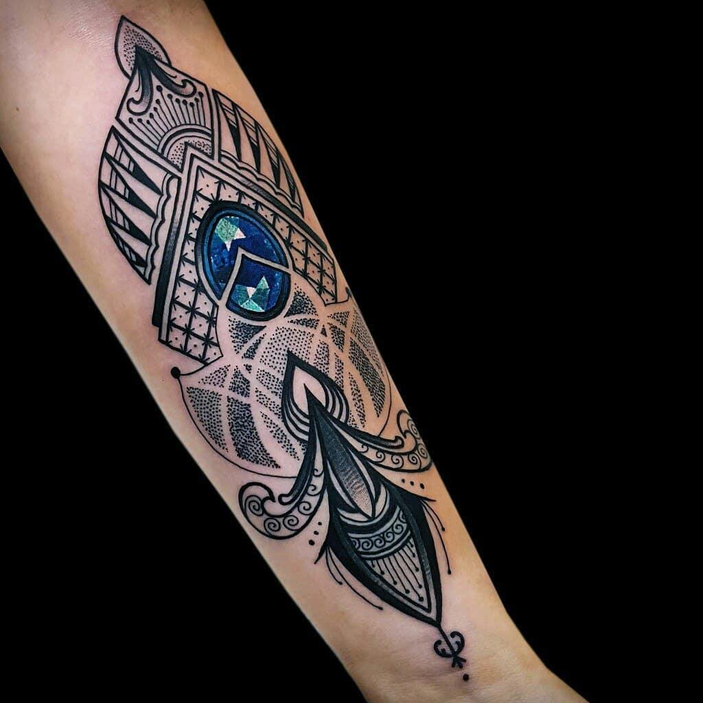 小臂梵花宝石纹身图案