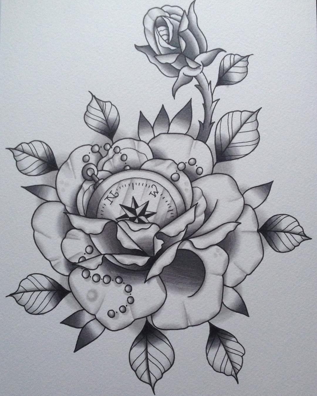 玫瑰指南针纹身手稿