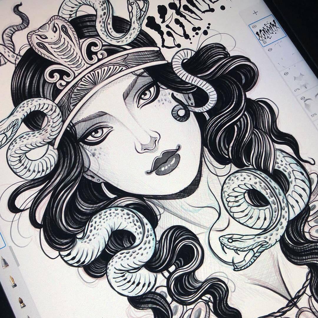 美杜莎纹身手稿